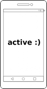 "outline of phone with the word ""active"" and a smiley in the centre"